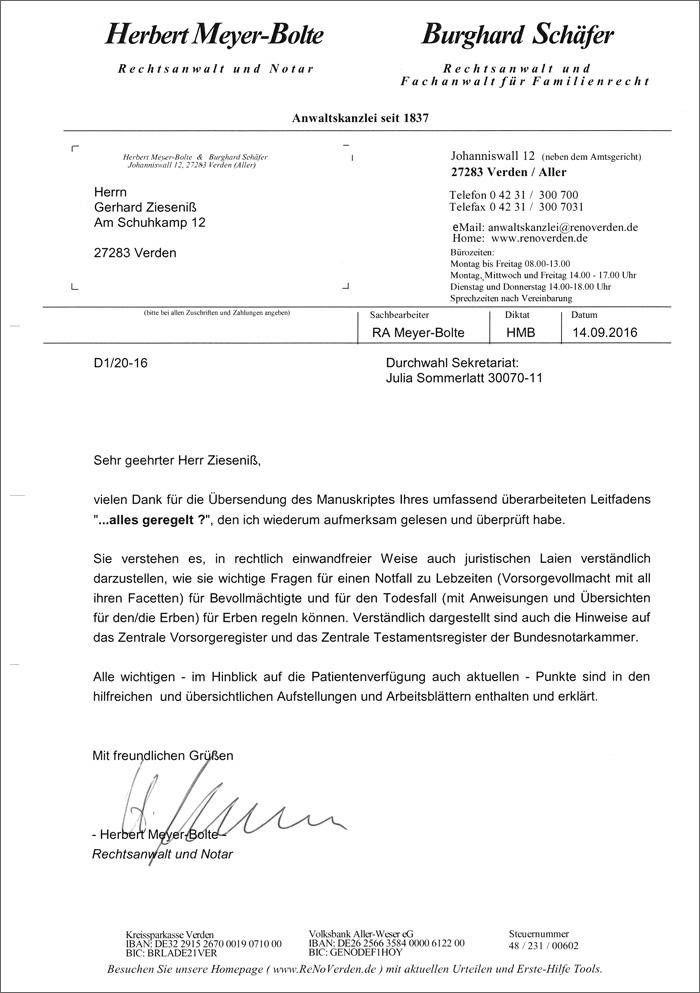 Sehr geehrter Herr Zieseniß, vielen Dank für die Übersendung des Manuskriptes Ihres umfassend überarbeiteten Leitfadens