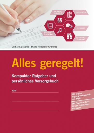 Titelseite Vorsorge Ratgeber Alles geregelt! - Kompakter Ratgeber Mund persönliches Vorsorgebuch